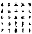 Indian gods silhouette set simple style vector image