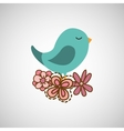 bird flower nature vector image