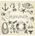 Hand drawn icons summer set vector image