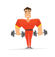 Man in red with dumbbells vector image
