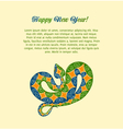 Christmas card with colorful snake vector image
