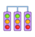Racing traffic lights icon cartoon style vector image