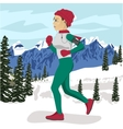 Young woman jogging outside in winter mountains vector image