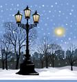 christmas winter cityscape snow city park skyline vector image