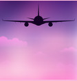 flying silhouette of an airplane on sky with vector image