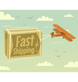 Biplane and fast shipping vector image