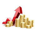 coins gold arrow vector image vector image