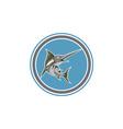 Blue Marlin Fish Jumping Circle Retro vector image