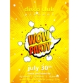 Flyer of disco party in pop art style vector image