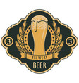 beer label with glass of beer coat of arms vector image