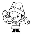 black and white cartoon chef mascot receive an vector image