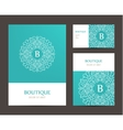 business set template with monogram letter vector image