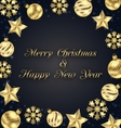 Christmas Frame of Golden Baubles Greeting Banner vector image