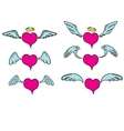 doddle hearts set hand drawn heart vector image