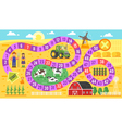 Flat style of kids farm board game template vector image