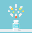 medicine pills bottle with pills over it pharmacy vector image