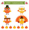 Thanksgiving set - cute owls vector image