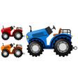 tractors in three colors vector image