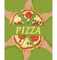 Pizza Pieces in Hand vector image