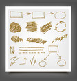 hand drawn gold design elements vector image