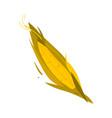 cartoon flat style corn cob ear with leaves vector image