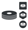 CD stack icon set monochrome vector image vector image