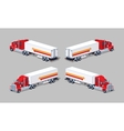 Red heavy american truck with the trailer vector image