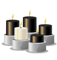 Black and white burning candles on a metal stand vector image