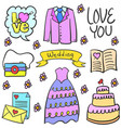 doodle of wedding party style design vector image