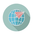Flat icon with long shadow Earth globe and plane vector image