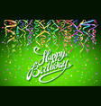 happy birthday card with green background with vector image