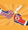 north korea vs america nuclear explosion pop art vector image