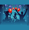 party background with dancing people silhouette vector image