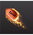 Realistic American Football Ball on fire vector image