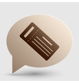 Ticket simple sign Brown gradient icon on bubble vector image