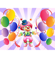 A clown juggling in the middle of the balloons vector image vector image