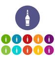 holiday bottle icons set flat vector image