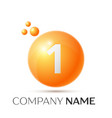 number one splash logo orange dots and bubbles vector image