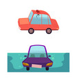 flat cartoon car accident set isolated vector image
