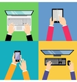 Business hands with gadgets vector image vector image