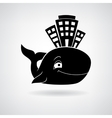 Black stylized house at the whale vector image