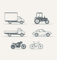 cars motorcycles bike in vintage style vector image