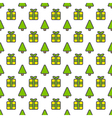 Christmas outline seamless pattern background vector image