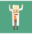 Funny Scientist In Lab Coat With A Goatee vector image