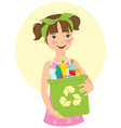 little girl holding recycling bin vector image
