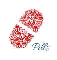 Pill icon of heart health care symbols vector image