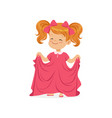 sweet redhead girl wearing dult oversized pink vector image