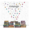 white background with sparkles of knowledge stack vector image