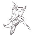 Halloween art design Sexy witch on a broomstick vector image