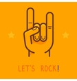 lets rock banner in outline style vector image